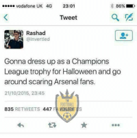 Arsenal, Halloween, and Memes: Vodafone UK 4G 23:01  86%  Tweet  Rashad  @Invert led  Gonna dress up as a Champions  League trophy for Halloween and go  around scaring Arsenal fans.  21/10/2015, 23:45  FOOTBALL  835  RETWEETS  447 FAVOGIBIITES  000 Haha this xD  Credits: The Football Kingdom