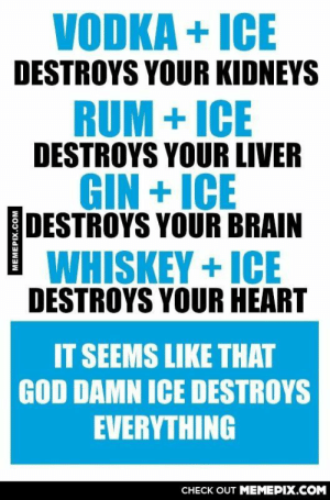 Get rid of it.omg-humor.tumblr.com: VODKA + ICE  DESTROYS YOUR KIDNEYS  RUM + ICE  DESTROYS YOUR LIVER  GIN + ICE  DESTROYS YOUR BRAIN  WHISKEY + ICE  DESTROYS YOUR HEART  IT SEEMS LIKE THAT  GOD DAMN ICE DESTROYS  EVERYTHING  CНECK OUT MЕМЕРIХ.COM Get rid of it.omg-humor.tumblr.com