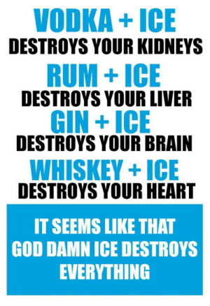 epicjohndoe:  Just Get Rid Of It: VODKA+ICE  DESTROYS YOUR KIDNEYS  RUM+ICE  DESTROYS YOUR LIVER  GIN +ICE  DESTROYS YOUR BRAIN  WHISKEY+ICE  DESTROYS YOUR HEART  IT SEEMS LIKE THAT  GOD DAMN ICE DESTROYS  EVERYTHING epicjohndoe:  Just Get Rid Of It