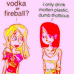 "Dumb, Tumblr, and Blog: vodka ionly drink  fireball?dumb thotticus  or  molten plastic,  m-Sea mcdonaldguy:  thebigwillie:  this passes the bechdel test  i was gonna say ""but they don't have names!"" but they do. the blonde's name is dumb thotticus and the brunette's name is m-seq"