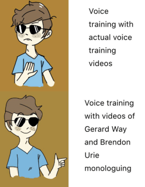 Videos, Voice, and Edgy: Voice  training with  actual voice  training  videos  Voice training  with videos of  Gerard Way  and Brendon  Urie  monologuing  // When your trans but also edgy and gay