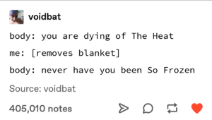 Frozen, Heat, and Never: voidbat  body: you are dying of The Heat  me: [removes blanket]  body: never have you been So Frozen  Source: voidbat  405,010 notes meirl