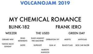 Who wants to come: VOLCANOJAM 2019  MY CHEMICAL ROMANCE  BLINK-182  FRANK IERO  THE USED  WEEZER  GREEN DAY  RAGE AGAINST  THE MACHINE  DEAD  KENNEDYS  OPERATION IVY  GERARD WAY  ANTI-FLAG  TAKING BACK  SUNDAY  NOFX  SLIPKNOT  SUM 41  BLACK FLAG  BOX CAR RACER  MARILYN  MANSONN Who wants to come