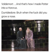 Bruh, Dumbledore, and Gandalf: Voldemort: .. .And that's how I made Potter  into a Horcrux.  Dumbledore: Bruh when the fuck did you  grow a nose.  @BetaSalmon I miss him after Snape killed Gandalf