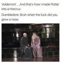 Bruh, Dumbledore, and Funny: Voldemort: .. .And that's how I made Potter  into a Horcrux.  Dumbledore: Bruh when the fuck did you  grow a nose  @BetaSalmon
