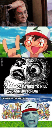 Voldemort tried to kill him TWICE. http://9gag.com/gag/aYePz2V?ref=fbp: VOLDEMORT TRIED TO KILL  ASH KETCHUM  I WANNA BE THE VERY BEST Voldemort tried to kill him TWICE. http://9gag.com/gag/aYePz2V?ref=fbp