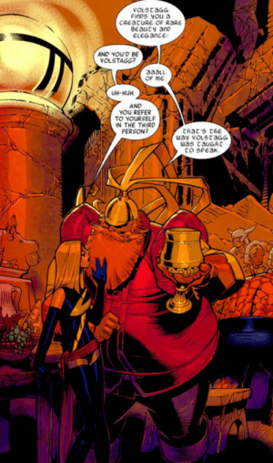 Huh, Tinder, and Creature: vOLStaGG  Finos you a  CREatURE OF RARE  BEauty anp  ELEGANCE  AND YOU'D BE  VOLSTAGG?  aaalu  OF ME  UH-HUH  AND  YoU REFER  TO YOURSELF  IN THE THIRD  PERSON?  Chat's thE  way voLstaGG  was tauGRT  to SPeak volstagg would slay on tinder