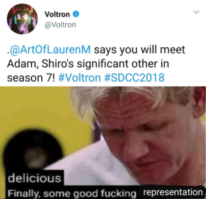 Fucking, Good, and Voltron: Voltron C  @Voltron  @ArtOfLaurenM says you will meet  Adam, Shiro's significant other in  season 7! #Voltron #SDCC2018   delicious  Finally, some good fucking representation,