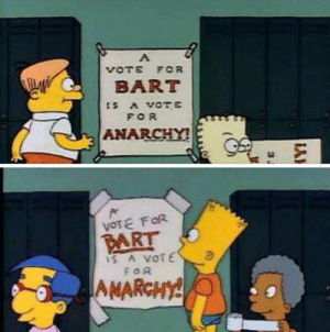 It's all about perspective.: VOTE FOR  BART  ts A VOTE  FOR  ANARCHY!  VOTE FOR  PART  IS A VOTE  FOR  AMARCHY! It's all about perspective.