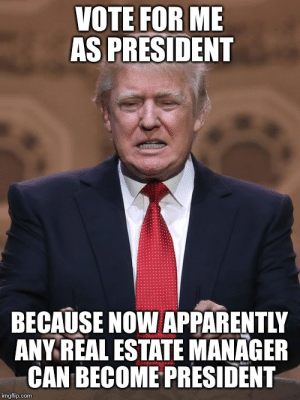Memes and Such: VOTE FOR ME  AS PRESIDENT  BECAUSE NOW APPARENTLY  ANY REAL ESTATE MANAGER  CAN BECOME PRESIDENT  imgflip.com Memes and Such