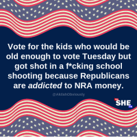 Let your vote make a statement to Republican lawmakers. Check out the largest guide to pro-choice candidates here: http://bit.ly/VPC-VoterGuide: Vote for the kids who would be  old enough to vote Tuesday but  got shot in a f*cking school  shooting because Republicans  are addicted to NRA money.  @AkilahObviously  SHE Let your vote make a statement to Republican lawmakers. Check out the largest guide to pro-choice candidates here: http://bit.ly/VPC-VoterGuide
