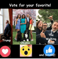 #TheWalkingDead fans, please GIVE this post an ACTUAL VOTE today. :) (y)  Photo credit: Elliot Van Orman Productions: Vote for your favorite!  The  king  Trump  Obama  bea  and SHARE! #TheWalkingDead fans, please GIVE this post an ACTUAL VOTE today. :) (y)  Photo credit: Elliot Van Orman Productions