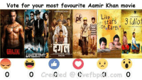 Vote for Aamir Khan's best movie till now: vote for your most favourite Aamir Khan movie  Like  Stars 3 idiot  Earth  o created Cvefbpd  com Vote for Aamir Khan's best movie till now