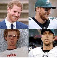 Football, Napoleon Dynamite, and Nfl: VOTE Going from Carson Wentz to Nick Foles is like going from Prince Harry to Napoleon Dynamite. https://t.co/xpxPhN25bV