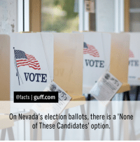 """Memes, Candide, and 🤖: VOTE  VOTE  @facts I guff com  On Nevada's election ballots, there is a 'None  of These Candidates' option. Happy Election Day! This """"None of the above"""" option first appeared on Nevada ballots in 1975 as a way to encourage everyone to vote — even if they were completely fed up with the political system. In fact, in 1976, """"None of These Candidates"""" actually won the plurality of votes in the Republican primary for a United States House seat. The nomination was awarded to the runner-up. Facts Election Nevada USA NoneOfTheseCandidates Vote HillaryClinton DonaldTrump"""