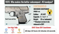 "With the rise in demand for concealed carry guns, industry manufacturers are focusing efforts in producing a wider variety of subcompact guns, including some of these chambered in .45ACP. On day 2 (Jan 18) of the 2017 SHOT Show, we'll visit with a wide range of manufacturers and bring it all to you live on The Right To Bear Arms.   LIVE VOTE: Which of these manufacturers do you think has the better approach on subcompact .45 handguns? 👍 = GLOCK (with its polymer G36) ❤ = Smith & Wesson Corp. (with its polymer M&P45 Shield) 😮 = Heizer Defense (with its all-steel PKO-45): VOTE: Who makes the better subcompact .45 handgun?  A CONTENDER #3  HEIZER DEFENSE  PKO-45  4.4"" Caliber: .45 ACP  VOTE  Capacity: 5.1 or 1  Steel Frame and Grip  Weight: 25 oz (unloaded)  **Titanium version to be  released in 2017  6.2  Live Vote Tally:  SHOT Show 2017 Countdown:  1015  446  35  18 days 10 hours 12 minutes 12 seconds  GLOCK  S&W  HEIZER With the rise in demand for concealed carry guns, industry manufacturers are focusing efforts in producing a wider variety of subcompact guns, including some of these chambered in .45ACP. On day 2 (Jan 18) of the 2017 SHOT Show, we'll visit with a wide range of manufacturers and bring it all to you live on The Right To Bear Arms.   LIVE VOTE: Which of these manufacturers do you think has the better approach on subcompact .45 handguns? 👍 = GLOCK (with its polymer G36) ❤ = Smith & Wesson Corp. (with its polymer M&P45 Shield) 😮 = Heizer Defense (with its all-steel PKO-45)"