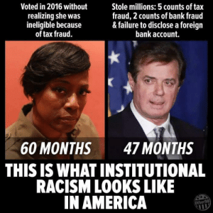 America, Racism, and Bank: Voted in 2016 without  realizing she was  ineligible because  of tax fraud.  Stole millions: 5 counts of tax  fraud, 2 counts of bank fraud  & failure to disclose a foreign  bank account.  60 MONTHS 47 MONTHS  THIS IS WHAT INSTITUTIONAL  RACISM LOOKS LIKE  IN AMERICA  Other98