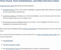Fall, Fbi, and Finance: Voter Fraud, Voter Intimidation, and Other Election Crimes  Federal election crimes fall into three broad categories:  Campaign finance crimes, such as when candidates accept donations that violate the amounts  or sources permitted under the law  .  . Civil rights violations, involving cases of voter intimidation, coercion, threats and other tactics  aimed at suppressing a person's ability to vote  Voter fraud and voter registration fraud, such as when a vote is illegally cast in the name of a  dead person or someone who's moved  Many states have strengthened their voter ID requirements in the past few years to try to curb voter  fraud.  If you suspect that voter fraud has occurred, report it to your state or territorial election office. You  can also report it to:  . A local FBI office  A local U.S. attorney's office  The Public Integrity Section of the Department of Justice's Criminal Division