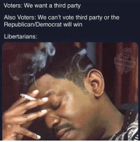 Memes, Party, and Struggle: Voters: We want a third party  Also Voters: We can't vote third party or the  Republican/Democrat will win  Libertarians:  THINK LIBERTY The struggle is real (MM)