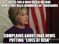 "Boycott fake news...turn off your television.: VOTES FOR A WAR BASED ON FAKE  NEWS THAT KILLS HUNDREDS OFTHOUSANDS  COMPLAINS ABOUT FAKE NEWS  PUTTING ""LIVESATRISKT Boycott fake news...turn off your television."
