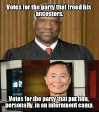 """Party, Tumblr, and Awkward: Votes for the party thatfreed his  ancestors.  Votes for the partythat put him,  personally, in an internment camp. <p><a href=""""http://nunyabizni.tumblr.com/post/154046005537/ohhhhhhhhhh"""" class=""""tumblr_blog"""">nunyabizni</a>:</p>  <blockquote><p>OHHHHHHHHHH</p></blockquote>  <p>Well that&rsquo;s awkward&hellip;</p>"""