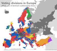 #Voting Patterns in #Europe  Red=Socialists, Labour, Social Democrats Blue=Conservatives, Christian Democrat, Republicans Yellow=Regionalist? Green= Independentist? Orange=Civic Platform Purple=People's Democratic Party: Voting divisions in Europe  official color of dominant coalition/party shown  2014 Alexandr Trubetskoy  ispol.com/sasha/europe-voting #Voting Patterns in #Europe  Red=Socialists, Labour, Social Democrats Blue=Conservatives, Christian Democrat, Republicans Yellow=Regionalist? Green= Independentist? Orange=Civic Platform Purple=People's Democratic Party