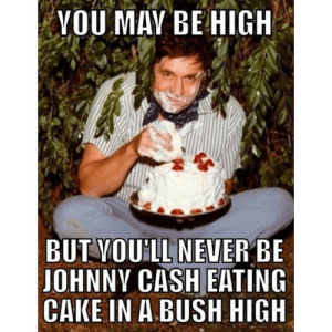 Meme, Reddit, and Cake: VOU MAY BE HIGH  BUT YOU'LL NEVER BE  JOHNNY CASH EATING  CAKE IN A BUSH HIGH This meme will always make my highlights.