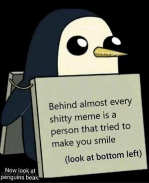 Penguin memes are the best! Invest now or catch the big G via /r/MemeEconomy https://ift.tt/314YiRX: Voure gay  Behind almost every  shitty meme is a  person that tried to  make you smile  (look at bottom left)  Now look at  penguins beak. Penguin memes are the best! Invest now or catch the big G via /r/MemeEconomy https://ift.tt/314YiRX