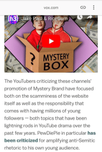 Shade, youtube.com, and Lightning: vox.com  h3 Jake Paul & RiceGum  MYSTERY  BOX  The YouTubers criticizing these channels'  promotion of Mystery Brand have focused  both on the scamminess of the website  itself as well as the responsibility that  comes with having millions of young  followers-both topics that have been  lightning rods in YouTube drama over the  past few years. PewDiePie in particular has  been criticized for amplifying anti-Semit  rhetoric to his own young audience.  ic