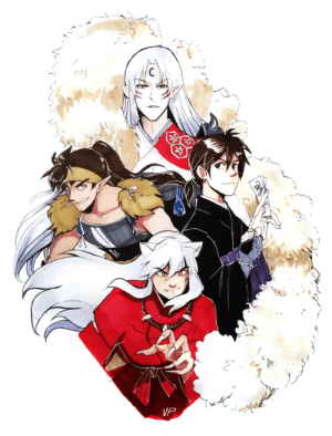 incaseyouart: Comfort fanart! Main guys from Inuyasha: Sesshoumaru, Kouga, Miroku and Inuyasha.: VP incaseyouart: Comfort fanart! Main guys from Inuyasha: Sesshoumaru, Kouga, Miroku and Inuyasha.