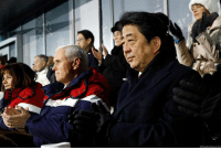 @VP Mike Pence and Second Lady Karen Pence sit alongside Japanese Prime Minister @shinzoabe at the opening ceremony of the Olympics in Pyeongchang, SouthKorea.: @VP Mike Pence and Second Lady Karen Pence sit alongside Japanese Prime Minister @shinzoabe at the opening ceremony of the Olympics in Pyeongchang, SouthKorea.