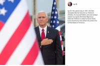 "America, Instagram, and Memes: vp On this special day in 1931, the Star  Spangled Banner became our National  Anthem. As a proud Nation, we must always  respect our great American flag & our  National Anthem in order to honor those  brave Americans who defend & protect the  United States of America. On Instagram, Vice President Mike Pence shared a message of respecting ""our great American flag"" on National Anthem Day."