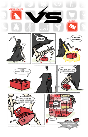 building bricks: VS  GRIM REAPER  LEGO  I WILL SEE  AAGH!!  YOU IN HELL!  ZOT!  DUDE  I DON'T HAVE A SOUL.  THEN HOW 'BOUT YOUR  OWN PERSONAL HELL?  WAIT! IS THAT AN  OFF-BRAND INTERLOCKING  WELCOME.  BUILDING BRICK? NO!  SOB...  HIYA..  LONE  JOIN US  CRAM!  99  GRIM REAPER  VSCOMIC.CO  02019 ALEX RYAN.  WINS! building bricks