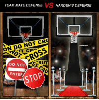 James Harden's Defensive Strategy! Credit: Jeromel Vargas Baltazar: VS  TEAM MATE DEFENSE  HARDEN'S DEFENSE  N DO NOT CR  ONBAMEMES  CROSS  DO NOT  STOP  ENTER James Harden's Defensive Strategy! Credit: Jeromel Vargas Baltazar