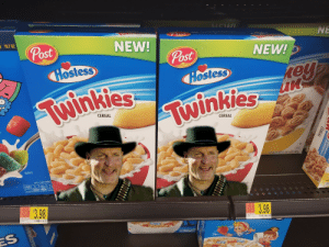 Tallahassee, the twinkie man.: VVR/&VO  NE  (Post  18.7 0Z  NEW!  Post  NEW!  Post  CER  Hostess  rey  un  TM  Hostess  Twinkies  BRAND  TM  Twinkies  BRAND  CEREAL  CEREAL  NET WT 17 0Z (I LB 1 OZ) 481g  ENLARGED TO  SHOW DETAIL  PER 1 CUP SERVIN  12  TOTAL  SUGAN  140  160  SODIUM  CALORIES SAT FAT  INFORMAT  SEE NUTRITION TACTS FOR AS PREPARED  PER 1 CUPS  PER 1C  PER  110  21.09 $3.98  NTPRCE  RETAIL PRICE  250 3.98  RETAL PRICE  PER OUNCE  PER OUNCE  RACKLE  ES  WIESONETD 24.Ot AREOD.0G  POP  SNAP!  CEREAL  LEKEAL Tallahassee, the twinkie man.