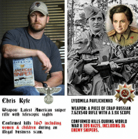- Oxford: VY SEAL  CHRIS KYLE  AMERICA  SNIPER  MOST LETHAL sNIPER  Chris Kyle  Weapon: Latest American sniper  rifle wiib lelescopic sights  160 including  Confirmed kills  women A children during an  illegal business scam.  LYUDMILA PAVLICHENKO  WEAPON: A PIECE OF CRAP RUSSIAN  1.62XS4R RIFLE WITH A 3.gX SCOPE  CONFIRMED KILLS DURING WORLD  WAR II 30g NAZIS, INCLUDING 36  ENEMY SNIPERS. - Oxford