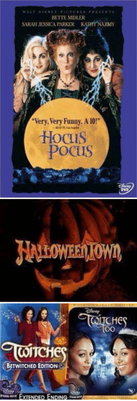 """I CAN'T WAIT for Disney Channel in October: w A LT DISNEY PICTURES PRESENT s  BETTE MIDLER  SARAH JESSICA PARKER KA NAUIMY  """"Very, Very Funny, A 10!""""  Hocus  Pocus  DVD   WITC  OBETWITCHED EDITION  EXTENDED ENDING  CHE  OO I CAN'T WAIT for Disney Channel in October"""