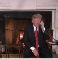 """Christmas, Donald Trump, and Phone: (W) Donald Trump, answering phone call from 7-year-old on Christmas Eve: """"Are you still a believer in Santa? Because at seven it's marginal, right?"""""""