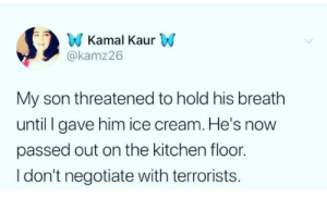 We will not submit to heir demands.: W Kamal KaurW  @kamz26  My son threatened to hold his breath  until gave him ice cream. He's now  passed out on the kitchen floor.  I don't negotiate with terrorists. We will not submit to heir demands.