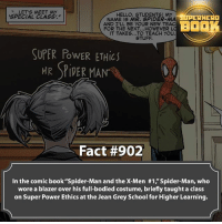 """Would you take that class? - marvel superhero facts marvelfacts supervillain andrewgarfield spiderman marveluniverse anime marvelstudios xmen deadpool avengers comics mcu marvelart marvelcomics teamcap civilwar teamironman ironman avengers guardiansofthegalaxy spiderman captainamerica blackpanther stanlee logan wolverine xmen ===================================: w...LETIS MEET MY  HELLO, STUDENTS! MY  SPECIAL CLASS,  ERHERO  NAME IS MR. SPIDER-MA  AND ILL BE YOUR NEW TEAC  FOR THE NEXT...HOWEVER  LO  IT TAKES...TO TEACH YOU.  STUFF  SUPER PowER ETHic  MR SPIDER MAN  Fact #902  In the comic book """"Spider-Man and the X-Men #1 Spider-Man, who  wore a blazer over his full-bodied costume, briefly taught a class  on Super Power Ethics at the Jean Grey School for Higher Learning. Would you take that class? - marvel superhero facts marvelfacts supervillain andrewgarfield spiderman marveluniverse anime marvelstudios xmen deadpool avengers comics mcu marvelart marvelcomics teamcap civilwar teamironman ironman avengers guardiansofthegalaxy spiderman captainamerica blackpanther stanlee logan wolverine xmen ==================================="""