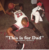 Michael Jordon collapsed on the locker room floor right after winning the championship on Father's Day right after his father died. If you love someone - tell them. michaeljordan 23 champion justsayit: w  This is for Dad  Michael-Jordan-AgentSteven Michael Jordon collapsed on the locker room floor right after winning the championship on Father's Day right after his father died. If you love someone - tell them. michaeljordan 23 champion justsayit