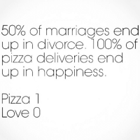 Life, Love, and Marriage: 50% of marriages end  up in divorce. 100% of  pizza deliveries end  up in happiness  Pizza  Love 0 I wish everything in life was as easy as getting fat..... Like boys liking me. pizzagetsme 🍕🍕❤️