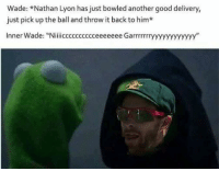 "Good, Back, and Another: Wade: *Nathan Lyon has just bowled another good delivery,  just pick up the ball and throw it back to him*  Inner Wade: ""Niiiicccccccccceeeeeee Garrrrrrryyyyyyyyyyyy"" Nicee Garry   -Daniel Mosey-"