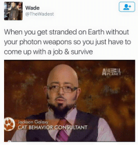 """Jackson Galaxy, Memes, and Earth: Wade  @TheWadest  When you get stranded on Earth without  your photon weapons so you just have to  come up with a job & survive  PLANET  Jackson Galaxy  CAT BEHAVIOR CONSULTANT <p>Coming up with a job via /r/memes <a href=""""http://ift.tt/2xZE9lC"""">http://ift.tt/2xZE9lC</a></p>"""
