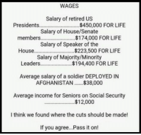 I think we found where the cuts should be made!: WAGES  Salary of retired US  Presidents $450,000 FOR LIFE  Salary of House/Senate  members..$174,000 FOR LIFE  Salary of Speaker of the  House.  Salary of Majority/Minority  $194,400 FOR LIFE  Average salary of a soldier DEPLOYED IN  AFGHANISTAN.$38,000  Average income for Seniors on Social Security  $12,000  l think we found where the cuts should be made!  If you agree...Pass it on! I think we found where the cuts should be made!