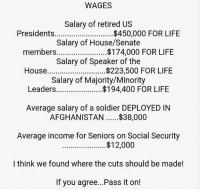 ~ By Ded Silence: WAGES  Salary of retired US  Presidents  $450,000 FOR LIFE  Salary of House/Senate  members....................... $174,000 FOR LIFE  Salary of Speaker of the  House  $223,500 FOR LIFE  Salary of Majority/Minority  Leaders  FOR LIFE  Average salary of a soldier DEPLOYED IN  AFGHANISTAN $38,000  Average income for Seniors on Social Security  $12,000  I think we found where the cuts should be made!  If you agree...Pass it on! ~ By Ded Silence