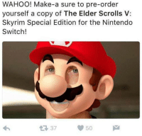 elders scroll: WAHOO! Make-a sure to pre-order  yourself a copy of The Elder Scrolls V:  Skyrim Special Edition for the Nintendo  Switch!  37