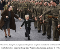 "Canada, Canadian, and Boy: Wait for me, Daddy!"" A young Canadian boy breaks away from his mother to hold hands with  his father while he's marching. New Westminster, Canada. October 1, 1940. <p>&ldquo;Wait for me, Daddy!&rdquo;</p>"