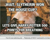 "Harry Potter, Love, and Memes: WAIT SLYTHERIN WON  THE HOUSE CUP?  LETS GIVE HARRY POTTER 500  β POINTS FOR|BREATHING .  Handcratted by his is SPARTA for iFunny)  & ifimmy mob  The #2 most addicting site  MUGGLENET MEMES.COM <p>Love this one! Thought you all might like it. <a href=""http://ift.tt/1bzO6aj"">http://ift.tt/1bzO6aj</a></p>"
