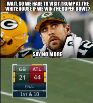 Green Bay Packers Memes: Best Funny Memes After Loss | Heavy.com ...: WAIT SO WE HAVE TO VISIT TRUMP AT THE  WHITE HOUSE IF WE WINTHE SUPER BOWL?  @NFL MEMES  SAY NO MORE  GB ATL  21 44  FINAL  1ST & 10 Green Bay Packers Memes: Best Funny Memes After Loss | Heavy.com ...